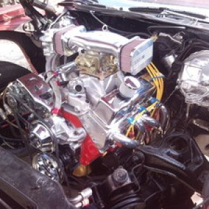 400sbc - Bored and Stroked to 434cu.in. with Dart Pro1 Aluminum heads pushing about 500HP.