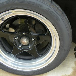 These are the custom one-off Impala SS wheels that were made by a GM Prototype shop in Michigan. The fronts are stock width and the rears are 17X9.5 i