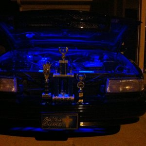 I won 1st place for muscle car at a black out car show.